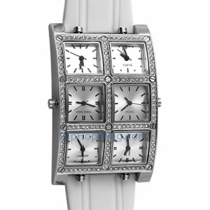 6 Time Zone Silver White Band Bling Bling Watch