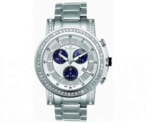 Pearl face with navy blue dials. Plus 3.25 carats of diamonds.