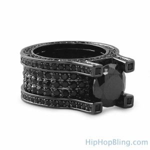 Black on Black Solitaire Eternity Ring