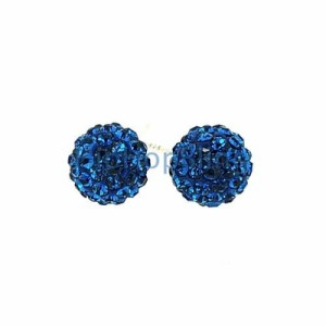 Iced Out Blue Disco Ball Earrings