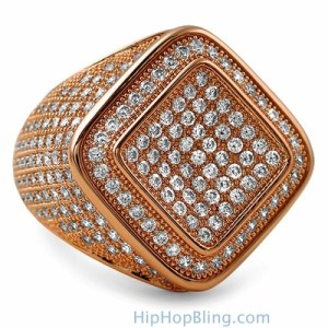 Rose Gold Micro Pave Bling Bling Ring