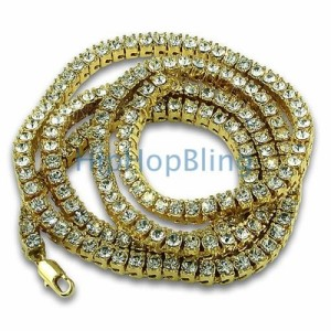 Gold Iced Out Bling Chain with 1 row of stones.