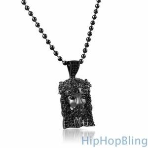 Black on Black Micro Jesus Pendant $39