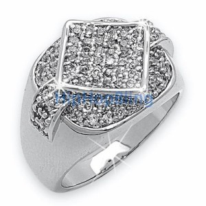 Players CZ .925 Sterling Silver Micro Pave Mens Ring