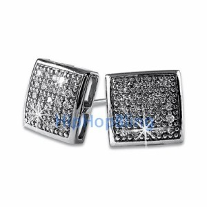 Medium Box Puffed Micro Pave Earrings with White Stones