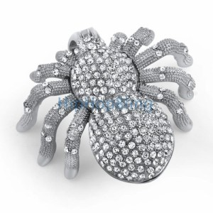 This ice is scary.  3D Tarantula Bling Pendant