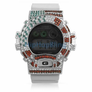 Show your pride with this American Flag inspired Iced Out G-Shock Watch.