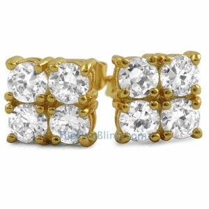 4-Stone Box Gold Micro Pave Earrings
