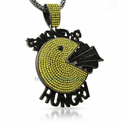 Flashy exotic pendants available at hip hop bling hip hop bling blog black and yellow pac man money pendant aloadofball Choice Image