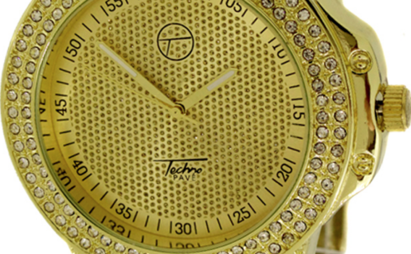 Rep Your Sense of Style With This Gold Chunky Techno Pave Watch