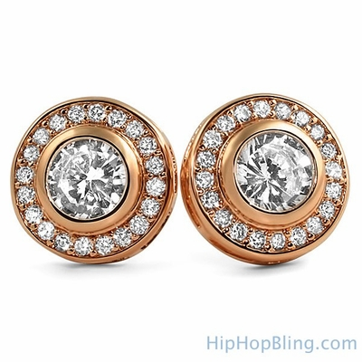 Up Your Swagger With Rose Gold Iced Out Earrings From Hip Hop Bling
